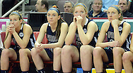 SOHARA19P<br /> From left, Cardinal O'Hara's Lauren Leicht, Bridgette Hoy, Kristen Denoncour and Maura Hendrixson sit on the bench in the last seconds of the fourth quarter as they lose to Cumberland Valley in the girls basketball PIAA Class AAAA state championship game Friday March 18, 2016 at the Giant Center in Hershey, Pennsylvania. Cumberland Valley defeated Cardinal O'Hara to win the PIAA Class AAAA state championship. (WILLIAM THOMAS CAIN/For The Inquirer)