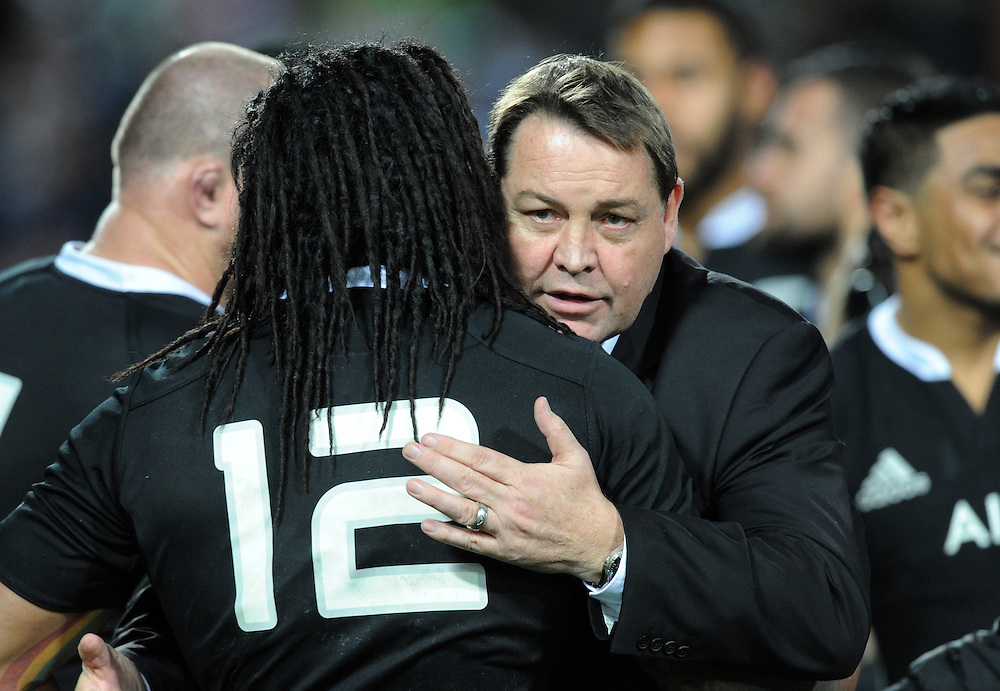 New Zealand coach Steve Hansen, right, hugs Ma;a Nonu after his teams serie defeat of England in the third International Rugby Test at Waikato Stadium, Hamilton, New Zealand, Saturday, June 21, 2014.Credit:SNPA / Ross Setford