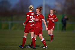 LIVERPOOL, ENGLAND - Sunday, February 4, 2018: Liverpool's Martha Harris celebrates scoring the fourth goal during the Women's FA Cup 4th Round match between Liverpool FC Ladies and Watford FC Ladies at Walton Hall Park. (Pic by David Rawcliffe/Propaganda)
