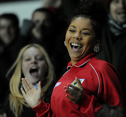 Bristol City supporters celebrate as Jay Emmanuel-Thomas makes it 2-0 in FA Cuo third round replay against Doncaster Rovers at Ashton Gate - Photo mandatory by-line: Paul Knight/JMP - Mobile: 07966 386802 - 13/01/2015 - SPORT - Football - Bristol - Ashton Gate Stadium - Bristol City v Doncaster Rovers - FA Cup third round replay