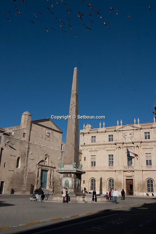 France. Bouches du Rhone.place de la republique in the old town of Arles