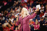 Suzanne Ostersmith emcees Gonzaga Day at the McCarthey Athletic Center. (Photo by Rajah Bose)