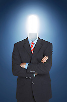 Businessman with economical friendly light bulb for head