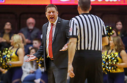 Jan 2, 2019; Morgantown, WV, USA; Texas Tech Red Raiders head coach Chris Beard argues a call during the first half against the West Virginia Mountaineers at WVU Coliseum. Mandatory Credit: Ben Queen-USA TODAY Sports
