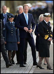 The Duke of Cambridge Prince William, The Commodore-in-Chief Submarines, smiling after going to the Toilet during a visit to The Royal Navy Submarine Museum in Gosport, Hampshire, United Kingdom. Monday, 12th May 2014. Picture by Andrew Parsons / i-Images