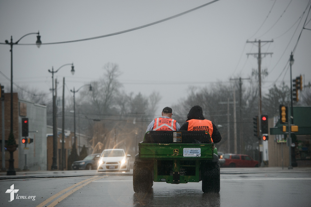 The Rev. Donald Love (left), pastor at Calvary Lutheran Church in Watseka, Ill., and the Rev. Michael Meyer, manager of LCMS Disaster Response, drive through the town on Saturday, Jan. 9, 2016, in Watseka. A flood at the end of December ravaged over a 60-block radius of the town. LCMS Communications/Erik M. Lunsford