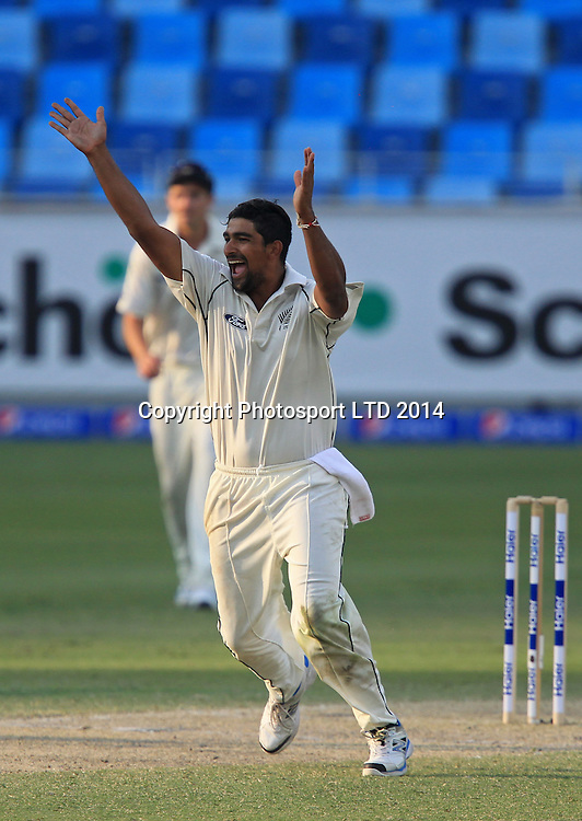 Pakistan vs New Zealand, 19 November 2014 <br /> Ish Sodhi appeals for a LBW on the third day of second test in Dubai