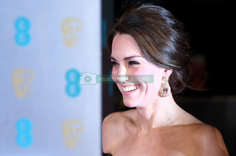 The Duchess of Cambridge attending the EE British Academy Film Awards held at the Royal Albert Hall, Kensington Gore, Kensington, London. Picture date: Sunday February 12, 2017. Photo credit should read: Doug Peters/ EMPICS Entertainment