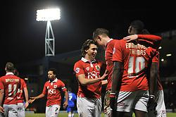 Bristol City's Matt Smith celebrates with his team mates after scoring. - Photo mandatory by-line: Dougie Allward/JMP - Mobile: 07966 386802 - 06/01/2015 - SPORT - football - Gillingham - Priestfield Stadium - Gillingham v Bristol City - Johnstone Paint Trophy - Area final