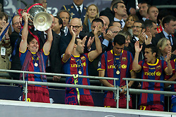 28-05-2011 VOETBAL: CHAMPIONS LEAGUE FINAL FC BARCELONA - MANCHESTER UNITED: LONDON<br /> Lionel Messi lifts the European Cup trophy<br /> ***NETHERLANDS ONLY***<br /> ©2011- FotoHoogendoorn.nl/EXPA/ Propaganda/Chris Brunskill