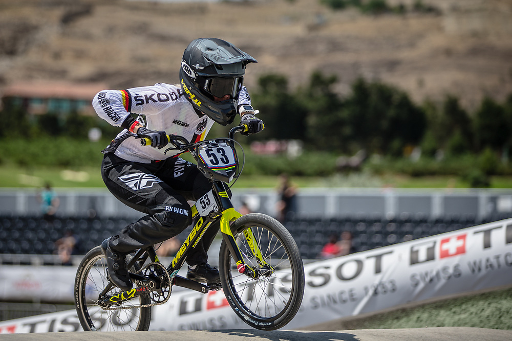Women Elite #53 (PRIES Nadja) GER at the 2018 UCI BMX World Championships in Baku, Azerbaijan.