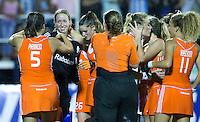 TUCUMAN  Argentinie -  Vreugde bij Oranje na halve finale wedstrijd in de finaleronde van de Hockey World League, tussen de vrouwen van Nederland en Argentinie. (2-2)  Nederland wint met shoot-out.  links keeper Joyce Sombroek  ANP KOEN SUYK