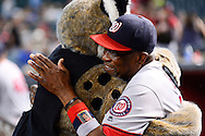 PHOENIX, AZ - AUGUST 03:  Dusty Baker #12 of the Washington Nationals hugs D. Baxter of the Arizona Diamondbacks prior to the game at Chase Field on August 3, 2016 in Phoenix, Arizona.  (Photo by Jennifer Stewart/Getty Images)