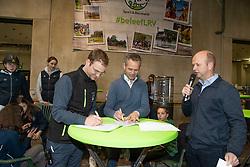 Contract ondertekening Krismar, Arthur Tanghe, Kris Callewaert<br /> Nationaal Indoor Kampioenschap Pony's LRV <br /> Oud Heverlee 2019<br /> © Hippo Foto - Dirk Caremans<br /> 09/03/2019