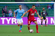 MELBOURNE, AUSTRALIA - APRIL 13: Adelaide United midfielder Isaias (8) runs the ball downfield during round 25 of the Hyundai A-League soccer match between Melbourne City FC and Adelaide United on April 13, 2019 at AAMI Park in Melbourne, Australia. (Photo by Speed Media/Icon Sportswire)