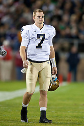 November 28, 2009; Stanford, CA, USA; Notre Dame quarterback Jimmy Clausen (7) on the sidelines during the first quarter against the Stanford Cardinal at Stanford Stadium. Stanford defeated Notre Dame 45-38. Mandatory Credit: Jason O. Watson-US PRESSWIRE