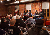 Cynthia Makris Naswa Resort, Mayor Ed Engler, Jennifer Anderson and Charlie St Clair speak to the community members at the 2016 Motorcycle Week Forum held at the Belknap Mill Wednesday evening.  (Karen Bobotas/for the Laconia Daily Sun)