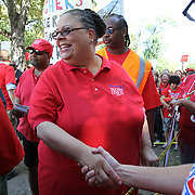 Chicago Teachers Union President Karen Lewis arrives to speak at rally for striking teachers at Union Park, west of downtown Chicago, as the union finalizes details of the contract with Chicago Public School Saturday September 15, 2012. Jose More Photography .               .