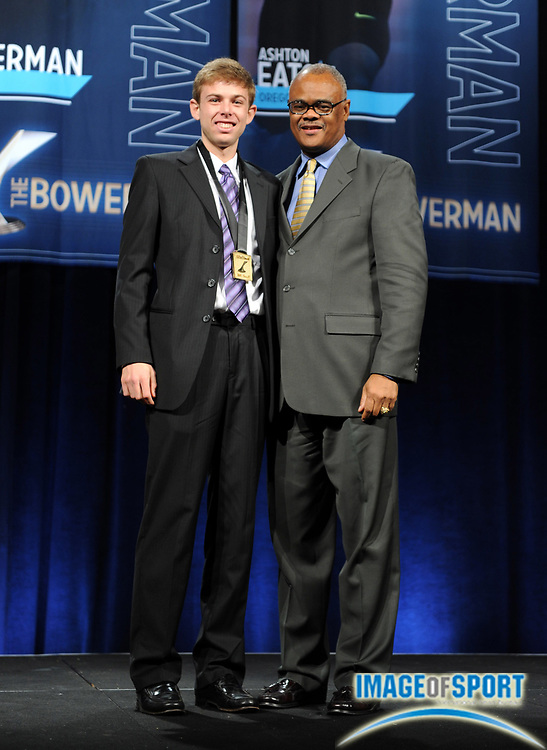 Dec 16, 2009; Orlando, FL, USA; Bowerman Award winner Galen Rupp of Oregon (left) and Herman Frazier at the USTFCCCA convention at the J.W. Marriott Grande Lakes.