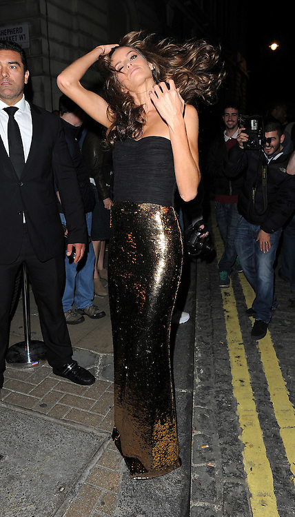 Brazilian Victoria's Secret model Izabel Goulart at the LFW AnOther Magazine party at Loulou's private members club in Mayfair, London, UK. 15/09/2014<br />