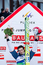 Winner Robert Kranjec of Slovenia celebrates after the Flying Hill Individual competition at 2nd day of FIS Ski Jumping World Cup Finals Planica 2012, on March 16, 2012, Planica, Slovenia. (Photo by Vid Ponikvar / Sportida.com)