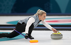 Great Britain's Anna Sloan during the Women's Semi-Final against Sweden at the Gangneung Curling Centre during day fourteen of the PyeongChang 2018 Winter Olympic Games in South Korea.