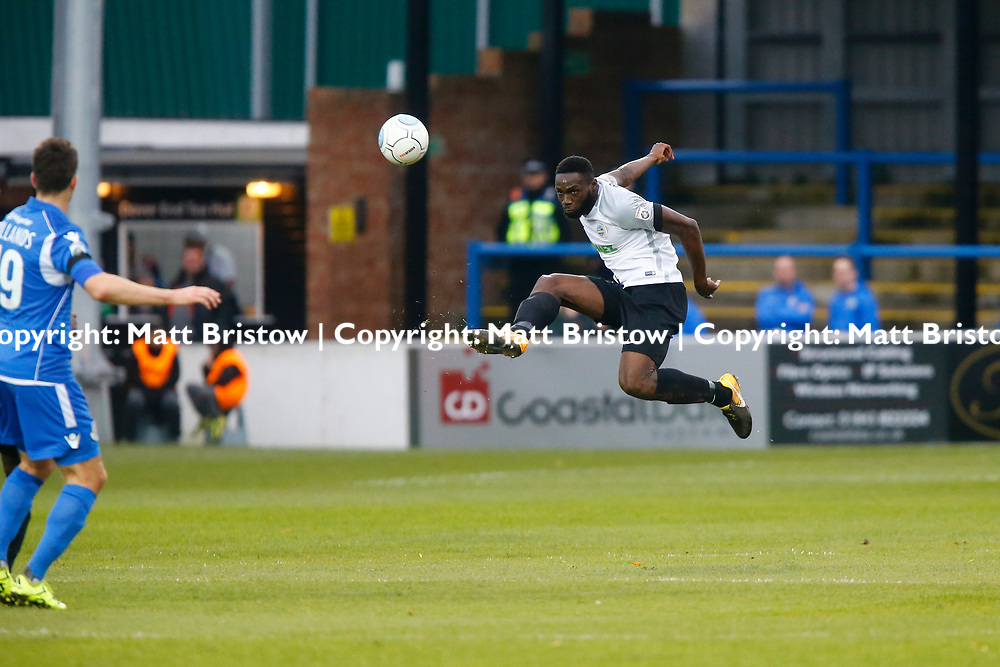 NOVEMBER 11:  Top of the table Dover Athletic host visitors Eastleigh in Conference Premier at Crabble Stadium in Dover, England. Dover ran out emphatic winners 2-0 to remain at the top of the National League. Dover's midfielder Nortei Nortey. (Photo by Matt Bristow/mattbristow.net)