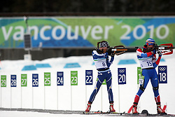 Olympic Winter Games Vancouver 2010 - Olympische Winter Spiele Vancouver 2010, Biathlon (Women's 7.5 km Sprint), Tanja KARISIK (BIH) and Svetlana SLEPTSOVA (RUS) *Photo by Malte Christians / HOCH ZWEI / SPORTIDA.com.