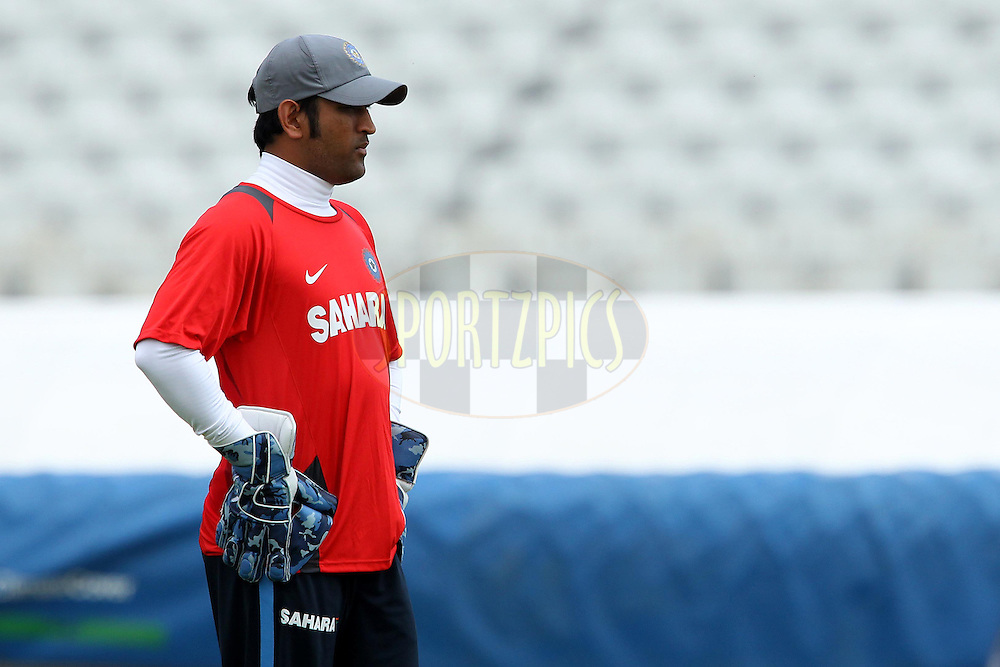MS Dhoni during the India practice session and press conference held at Trent Bridge Cricket Ground in Nottingham on the 28th July 2011...Photo by Ron Gaunt/SPORTZPICS/BCCI