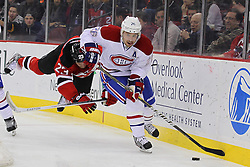 Feb 2; Newark, NJ, USA; New Jersey Devils right wing David Clarkson (23) is tripped while trying to defend Montreal Canadiens defenseman Josh Gorges (26) during the second period at the Prudential Center.