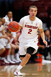 Nov 14, 2011; Stanford CA, USA;  Stanford Cardinal guard Aaron Bright (2) dribbles the ball up court against the Fresno State Bulldogs during the first half of a preseason NIT game at Maples Pavilion. Mandatory Credit: Jason O. Watson-US PRESSWIRE