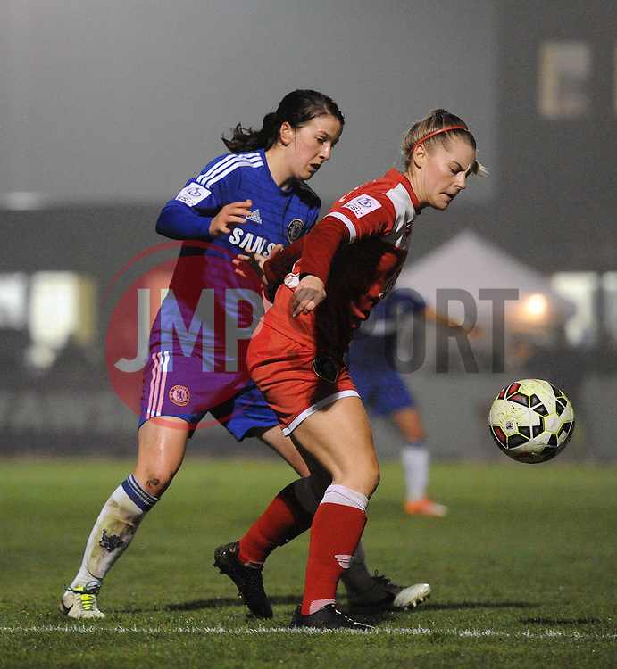 Bristol Academy Womens' Christine Murray controls the ball under pressure from Niamh Fahey of Chelsea Ladies - Photo mandatory by-line: Dougie Allward/JMP - Mobile: 07966 386802 - 02/04/2015 - SPORT - Football - Bristol - SGS Wise Campus - BAWFC v Chelsea Ladies - Womens Super League