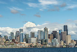 United States, Washington, Seattle, downtown skyline viewed from Elliott Bay in Puget Sound