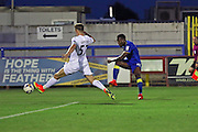 AFC Wimbledon striker Dominic Poleon (10) shoots at goal during the EFL Trophy match between AFC Wimbledon and U23 Swansea City at the Cherry Red Records Stadium, Kingston, England on 30 August 2016. Photo by Stuart Butcher.