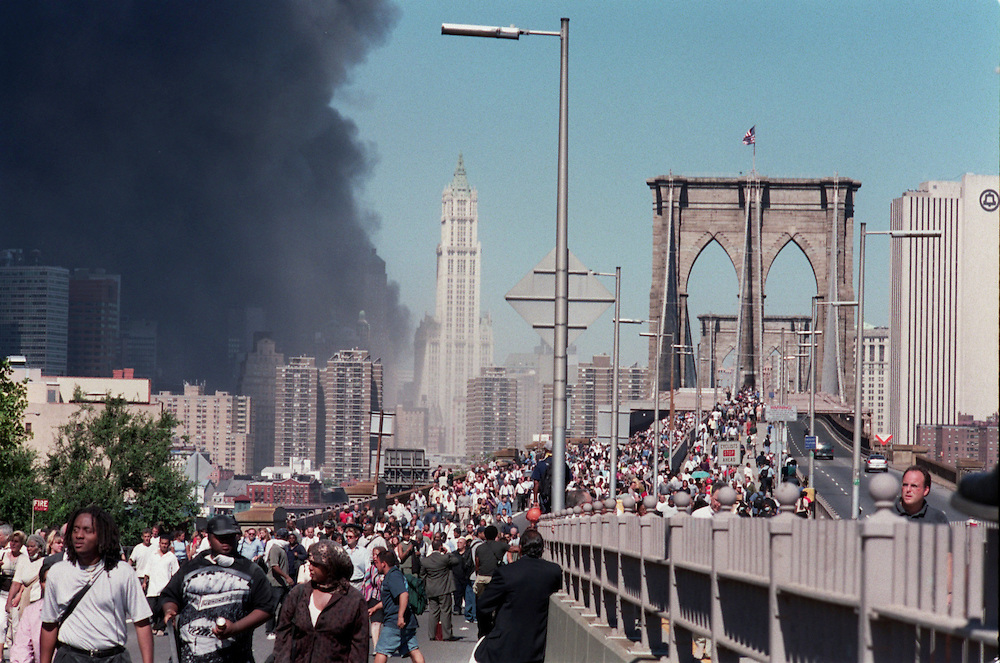 9/11/01, NEW YORK CITY, NEW YORK, UNITED STATES --- New Yorkers evacuating from the the collapsed Twin Towers' vicinity. --- Photo by Neville Elder/Corbis Sygma