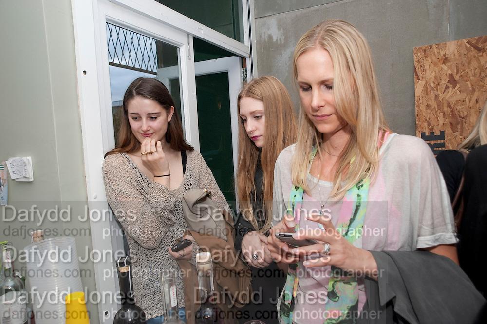 CHARLIE MAY; ALEXXSIA ELIZABETH;; KRISTINA VON OERTZ, , Launch of Atalanta Weller's range of shoes at & The Convenience Store, Golborne Gdns.  Hazlewood Tower<br /> Golborne Gardens, London W10 5DT 24 August 2011.<br /> <br />  , -DO NOT ARCHIVE-© Copyright Photograph by Dafydd Jones. 248 Clapham Rd. London SW9 0PZ. Tel 0207 820 0771. www.dafjones.com.