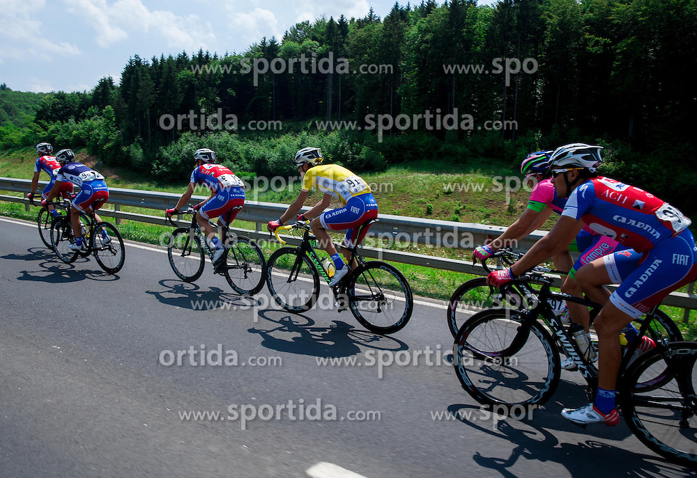Radoslav Rogina (CRO) of Adria Mobil in yellow jersey and Bruno Maltar (CRO) of Adria Mobil during Stage 4 from Brezice to Novo mesto (155,8 km) of cycling race 20th Tour de Slovenie 2013,  on June 16, 2013 in Slovenia. (Photo By Vid Ponikvar / Sportida)