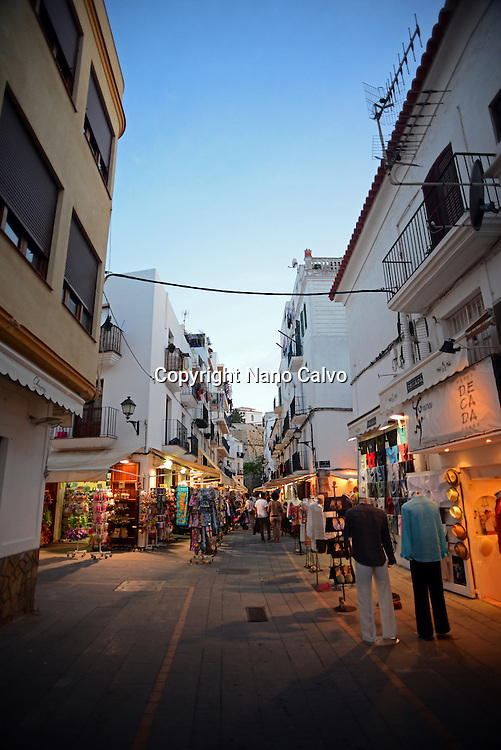 Ibiza town at night, Balearic Islands, Spain