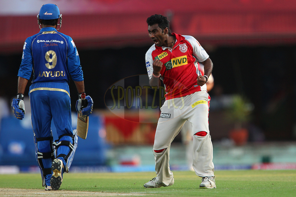 Parvinder Awana celebrates the wicket of Ambati Rayudu during match 69 of the Pepsi Indian Premier League between The Kings XI Punjab and the Mumbai Indians held at the HPCA Stadium in Dharamsala, Himachal Pradesh, India on the on the 18th May 2013..Photo by Ron Gaunt-IPL-SPORTZPICS ..Use of this image is subject to the terms and conditions as outlined by the BCCI. These terms can be found by following this link:..http://www.sportzpics.co.za/image/I0000SoRagM2cIEc