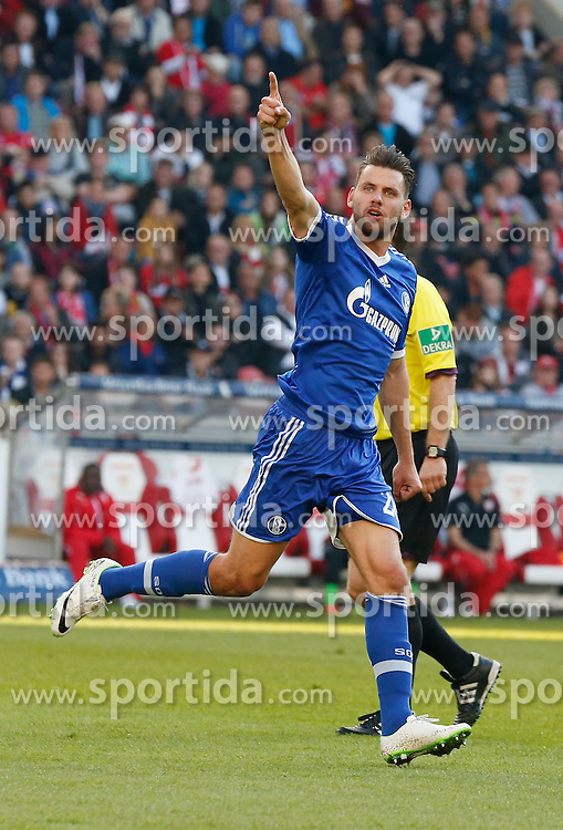 20.04.2014, Mercedes Benz Arena, Stuttgart, GER, 1. FBL, VfB Stuttgart vs Schalke 04, 31. Runde, im Bild Adam Szalai (FC Schalke 04) jubelt nach seinem 3:1 // during the German Bundesliga 31th round match between VfB Stuttgart and Schalke 04 at the Mercedes Benz Arena in Stuttgart, Germany on 2014/04/20. EXPA Pictures &copy; 2014, PhotoCredit: EXPA/ Eibner-Pressefoto/ BW-FOTO<br /> <br /> *****ATTENTION - OUT of GER*****