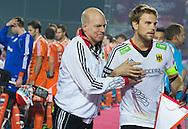 BHUBANESWAR  (INDIA) -   Germany vs Netherlands.  day 2 Hero Champions Trophy Hockey.  German coach Markus Weise with captain Moritz Fürste of Germany. Foto Koen Suyk