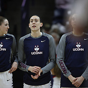 Katie Lou Samuelson, (left) and Breanna Stewart, UConn, during the National Anthem before the UConn Vs SMU Women's College Basketball game at Gampel Pavilion, Storrs, Conn. 24th February 2016. Photo Tim Clayton