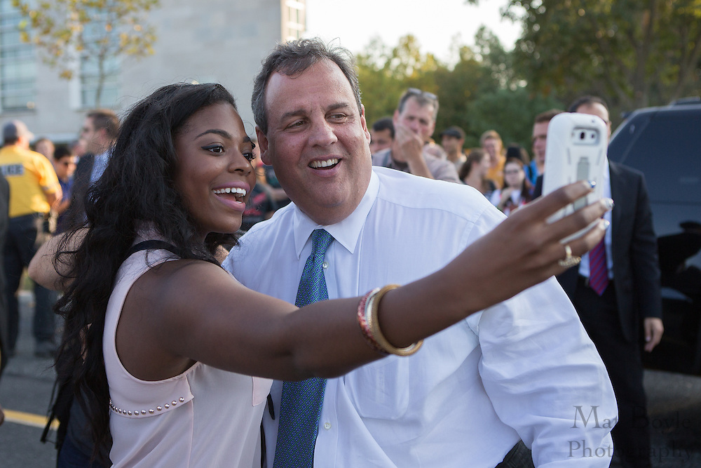 A Rowan University Student Anika DeBerry takes a 'selfie' with NJ Governor Chris Christie after the Rowan Hall Expansion groundbreaking ceremony at Rowan University  in Glassboro, NJ on Wednesday October 2, 2013. (photo / Mat Boyle)