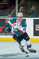 KELOWNA, CANADA - MARCH 3: Dillon Dube #19 of the Kelowna Rockets skates with the puck against the Spokane Chiefs on March 3, 2018 at Prospera Place in Kelowna, British Columbia, Canada.  (Photo by Marissa Baecker/Shoot the Breeze)  *** Local Caption ***