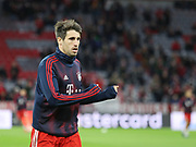 Javi Martinez of Bayern Munich warms up during the Champions League round of 16, leg 2 of 2 match between Bayern Munich and Liverpool at the Allianz Arena stadium, Munich, Germany on 13 March 2019.