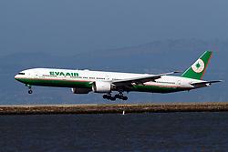 Boeing 777-35E(ER) (B-16708) operated by EVA Air landing at San Francisco International Airport (KSFO), San Francisco, California, United States of America