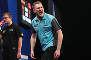 Ryan Harrington hits a double and wins a leg during the Grand Slam of Darts, at Aldersley Leisure Village, Wolverhampton, United Kingdom on 11 November 2019.