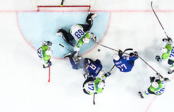 Sacha Treille of France and Damien Fleury of France against Nik Pem of Slovenia, Ales Kranjc of Slovenia, David Rodman of Slovenia, Matija Pintaric of Slovenia and Luka Vidmar of Slovenia during the 2017 IIHF Men's World Championship group B Ice hockey match between National Teams of France and Slovenia, on May 15, 2017 in AccorHotels Arena in Paris, France. Photo by Vid Ponikvar / Sportida