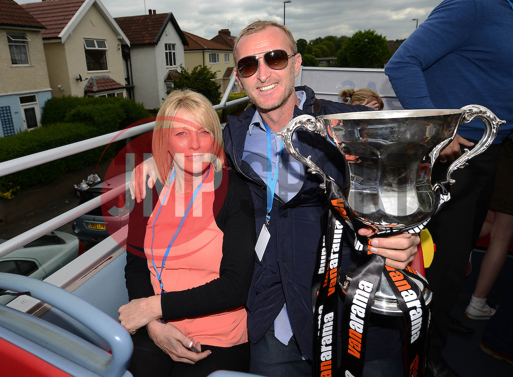 Bristol Rovers Steve Yates and his family with the Vanarama Conference Play-Off Final trophy  - Photo mandatory by-line: Dougie Allward/JMP - Mobile: 07966 386802 - 25/05/2015 - SPORT - Football - Bristol - Bristol Rovers Bus Tour