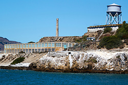 Water tower and smoke stack on Alcatraz Island, Golden Gate National Recreation Area, San Francisco Bay, San Francisco, California, United States of America